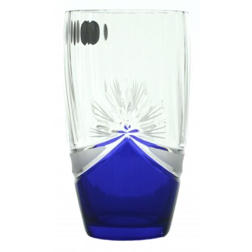 set pohár 6x, farba číre sklo - bezolovnaté, modrý dekor, objem 350 ml