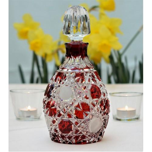 Krištáľová fľaša Flake, farba rubínová, objem 700 ml
