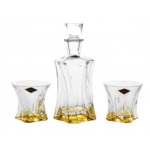 Set Whisky Cooper jantárová, bezolovnatý crystalite, 1+2