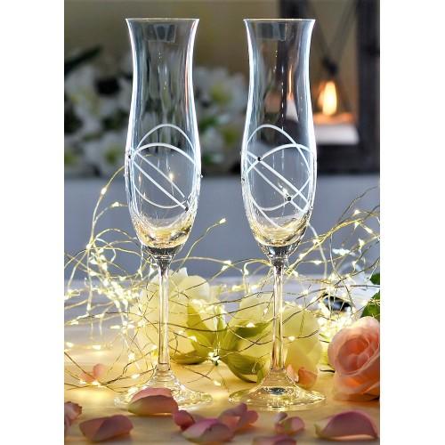 Set pohár na víno Ellen 2x, číre sklo - bezolovnaté, dekorované, objem 200 ml