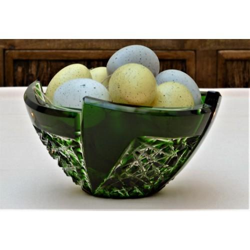 Krištáľová misa Fan, farba zelená, priemer 180 mm