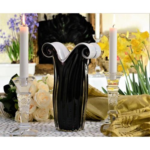Váza hutné sklo, farba čierna - opál, výška 270 mm