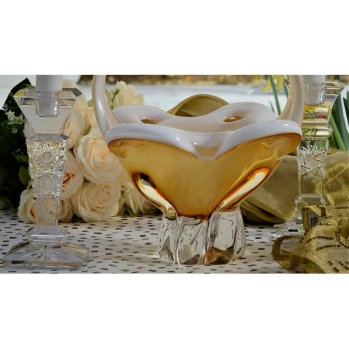 Kôš hutné sklo, farba jantárová - opál, výška 340 mm