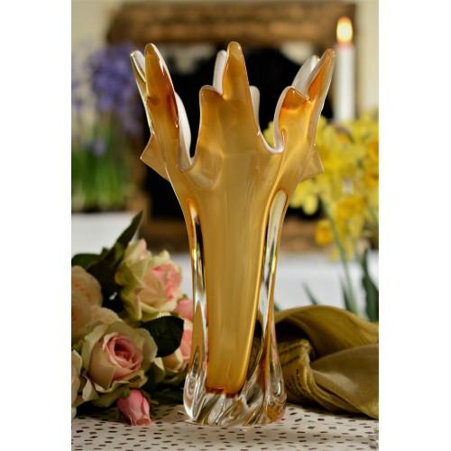 Váza hutné sklo, farba jantárová - opál, výška 320 mm