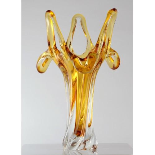 Váza hutné sklo, farba jantárová, výška 380 mm