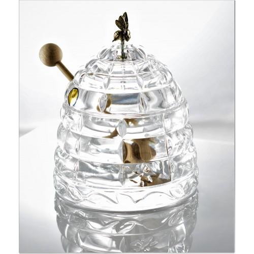 Krištáľová dóza na med, farba číry krištáľ, priemer 118 mm