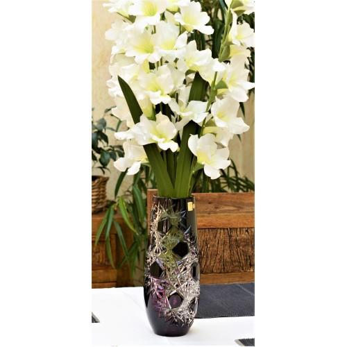 Krištáľová váza Frost, farba fialová, výška 300 mm