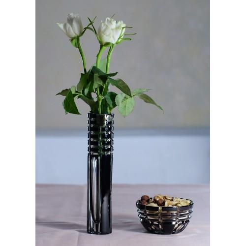 Krištáľová miska Nora, farba čierna, priemer 90 mm
