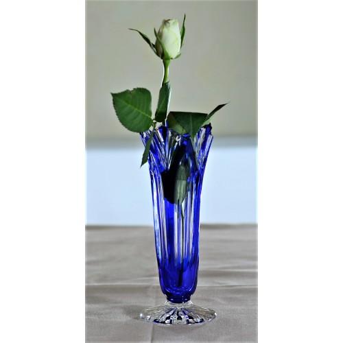 Krištáľová váza Lotos, farba modrá, výška 175 mm