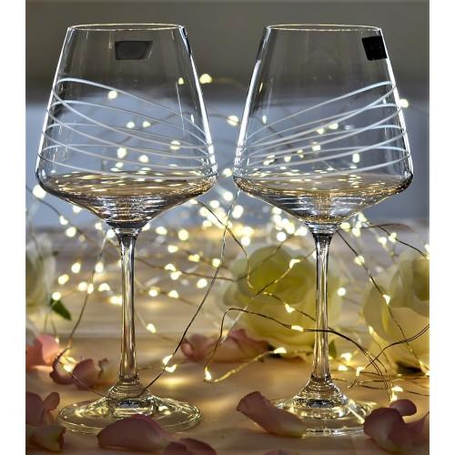 Set pohár na víno Naomi 2x, číre sklo - bezolovnaté, dekorované, objem 360 ml