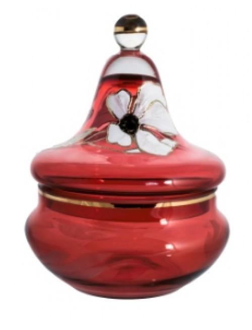 Dóza Kvet, farba rubínová, výška 180 mm