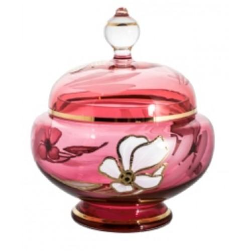 Dóza Kvet, farba rubínová, výška 175 mm