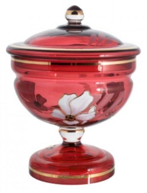 Dóza Kvet, farba rubínová, výška 215 mm
