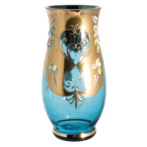 Váza, vysoký smalt, farba azúrová, výška 200 mm