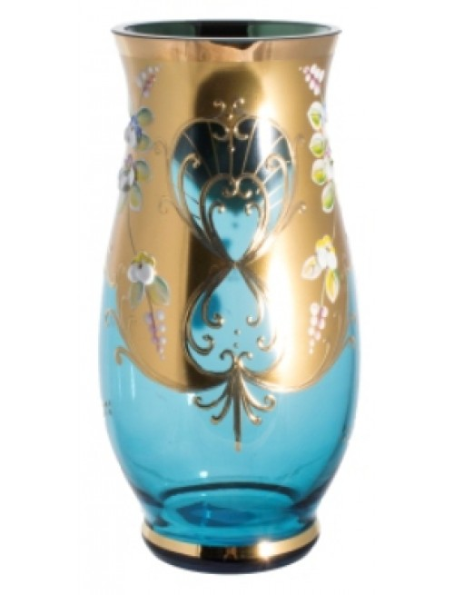 Váza, vysoký smalt, farba azúrová, výška 400 mm