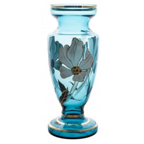 Váza Kvet, farba azúrová, výška 305 mm