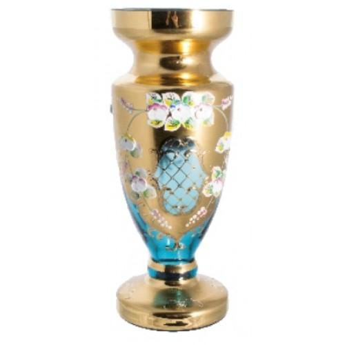 Váza, vysoký smalt, farba azúrová, výška 210 mm
