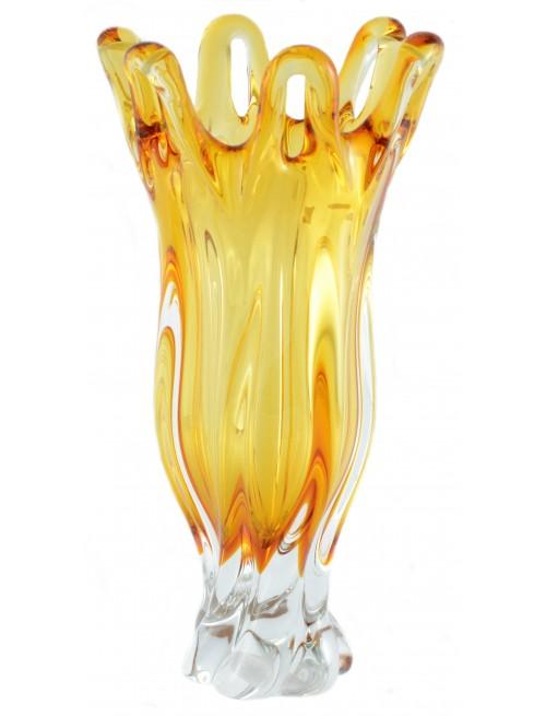 Váza hutné sklo, farba jantárová, výška 350 mm