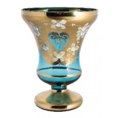 Váza, vysoký smalt, farba azúrová, výška 205 mm