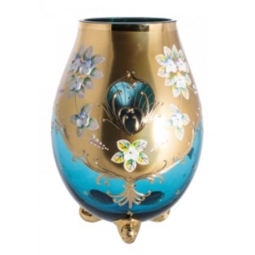 Váza, vysoký smalt II, farba azúrová, výška 210 mm