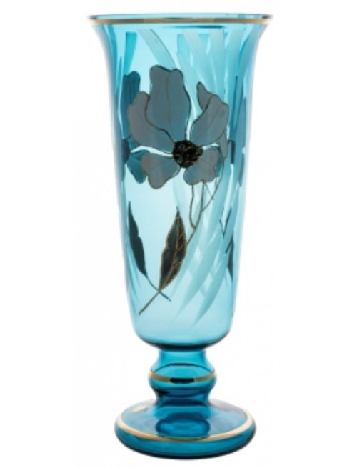 Váza Kvet, farba azúrová, výška 400 mm
