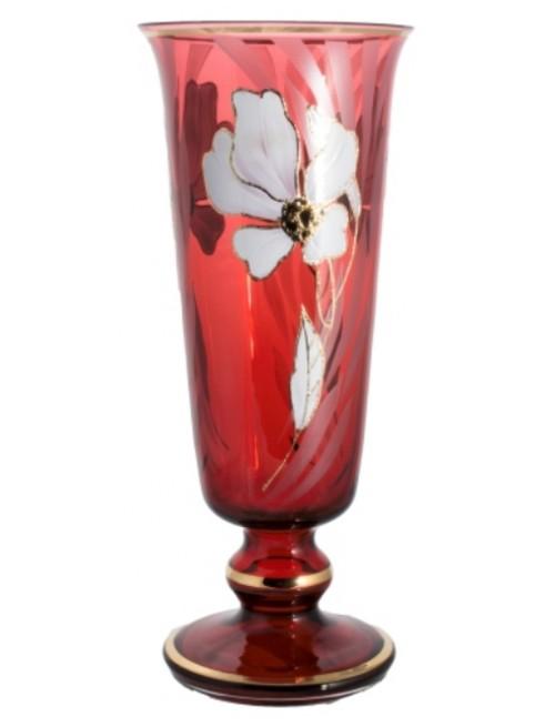 Váza Kvet, farba rubínová, výška 400 mm
