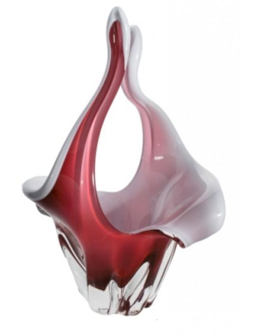Kôš hutné sklo, farba rubínová - opál, výška 350 mm