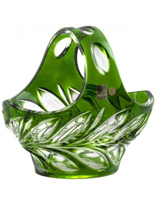 Krištáľový kôš Fluora, farba zelená, priemer 200 mm
