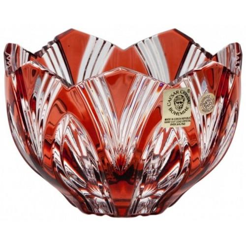 Krištáľová miska Lotos, farba rubínová, priemer 110 mm
