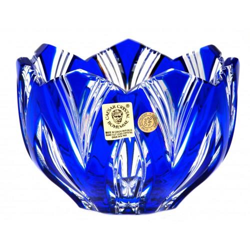 Krištáľová miska Lotos, farba modrá, priemer 110 mm