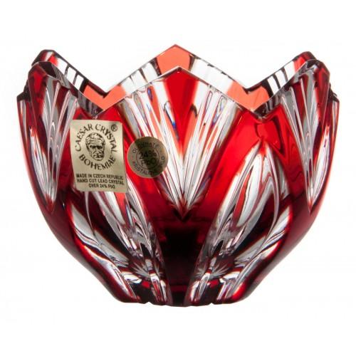 Krištáľová miska Lotos, farba rubínová, priemer 85 mm