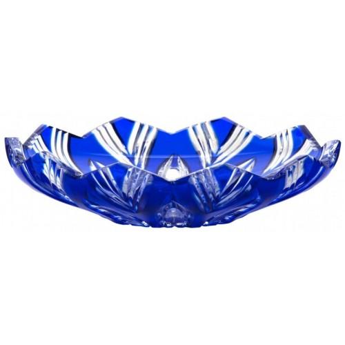 krištáľový tanier Lotos, farba modrá, priemer 145 mm