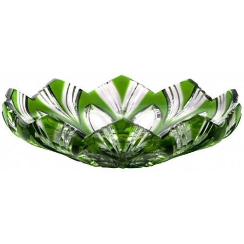 Krištáľový tanier Lotos, farba zelená, priemer 145 mm
