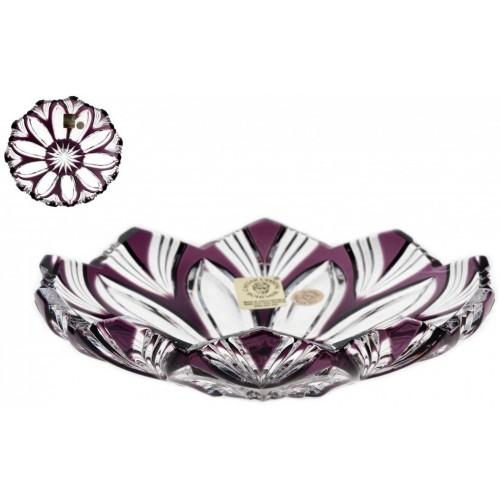 Krištáľový tanier Lotos, farba fialová, priemer 145 mm