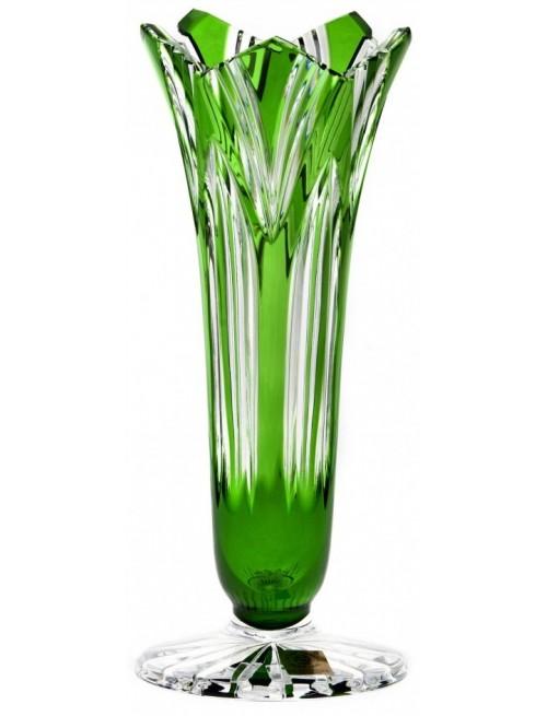 Krištáľová váza Lotos, farba zelená, výška 200 mm
