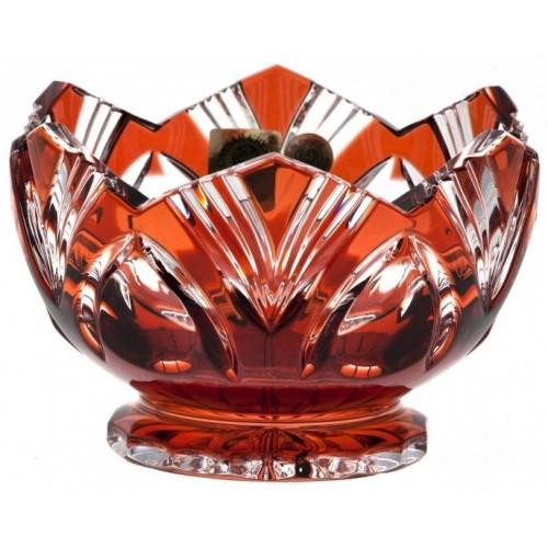 Krištáľová miska Lotos, farba rubínová, priemer 104 mm