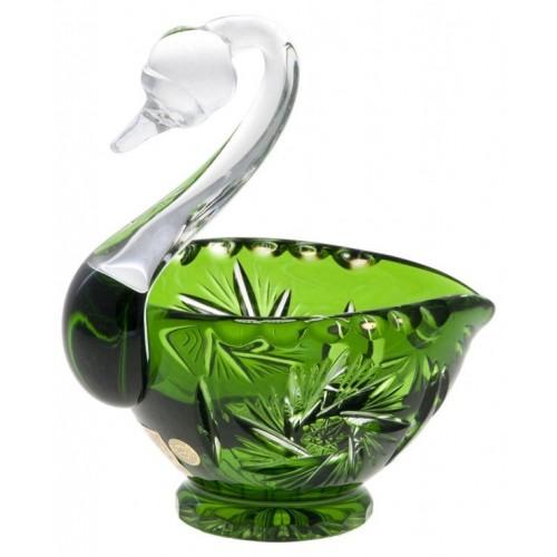 Krištáľová labuť Pinwheel, farba zelená, priemer 114 mm