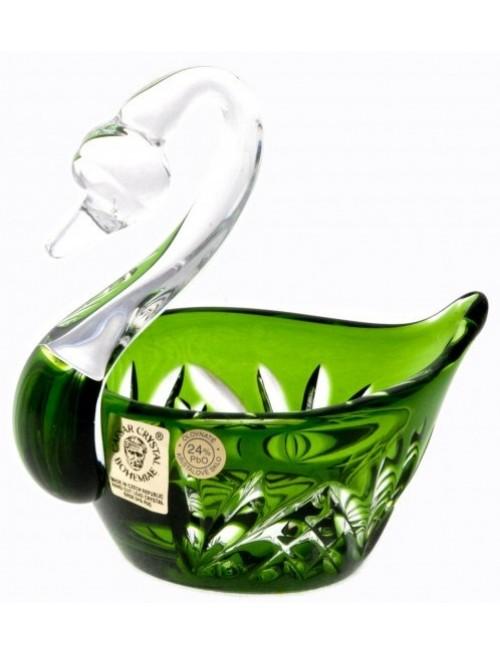 Krištáľová labuť Miniature, farba zelená, priemer 100 mm