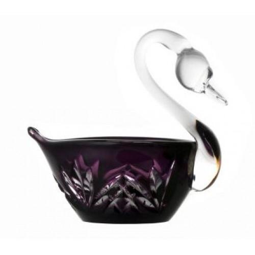 Krištáľová labuť Miniature, farba fialová, priemer 100 mm