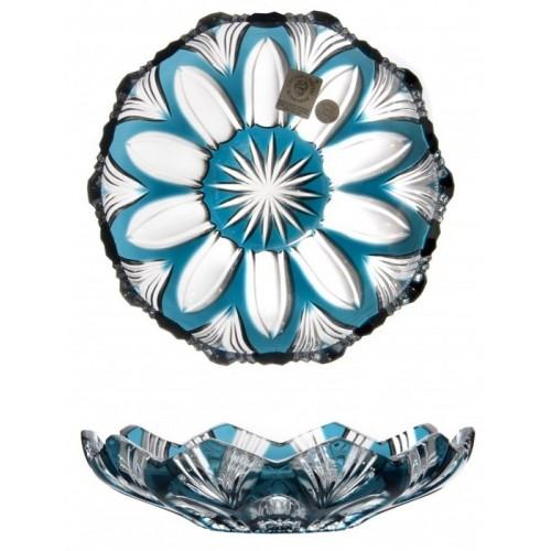 Krištáľový tanier Lotos, farba azúrová, priemer 145 mm