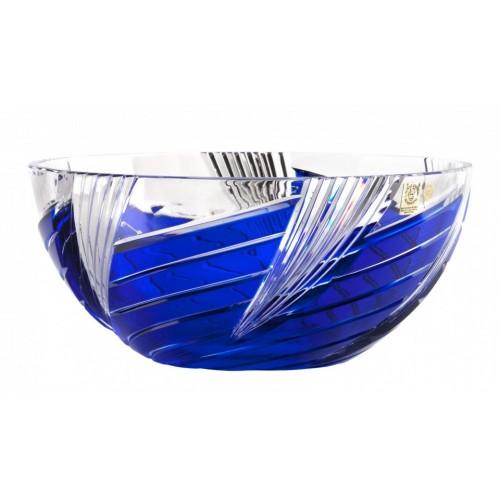 Krištáľová misa Whirl, farba modrá, priemer 250 mm