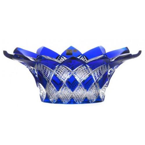 Krištáľová misa Harlequin, farba modrá, priemer 300 mm
