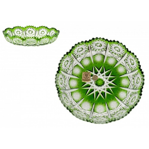 Krištáľový tanier Paula, farba zelená, priemer 146 mm