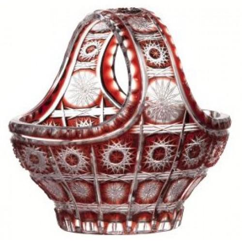 Krištáľový kôš Paula, farba rubínová, priemer 200 mm