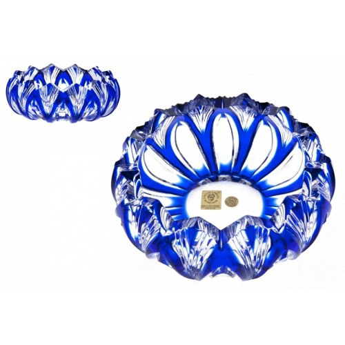 Krištáľový popolník Lotos, farba modrá, priemer 155 mm