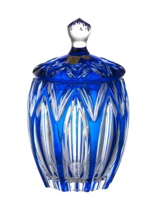 Krištáľová dóza Lotos, farba modrá, výška 200 mm