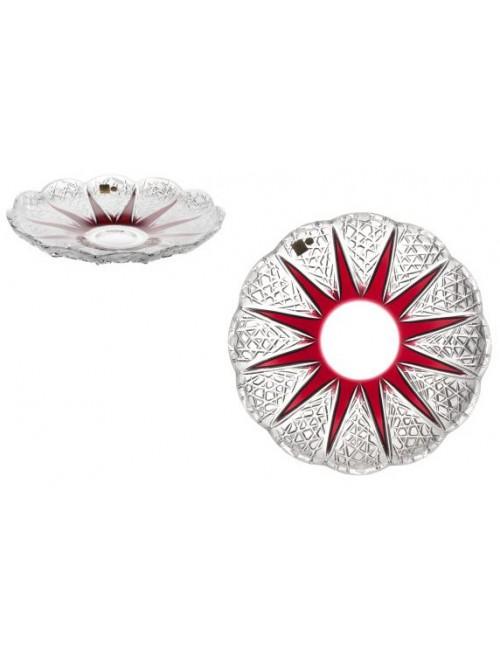 Krištáľový tanier Flowerbud, farba rubínová, priemer 300 mm