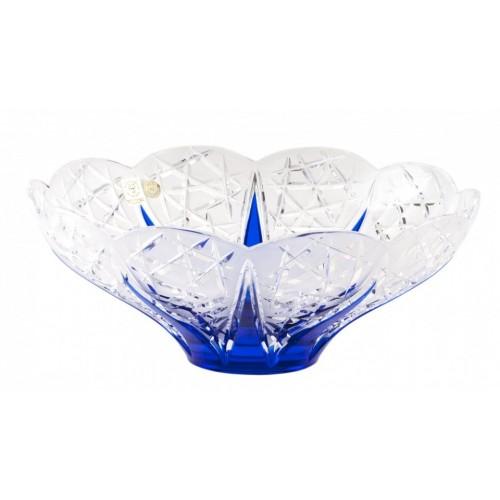 Krištáľová misa Flowerbud, farba modrá, priemer 275 mm