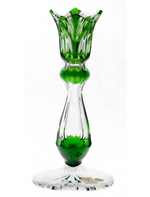 Krištáľový svietnik Lotos, farba zelená, výška 175 mm