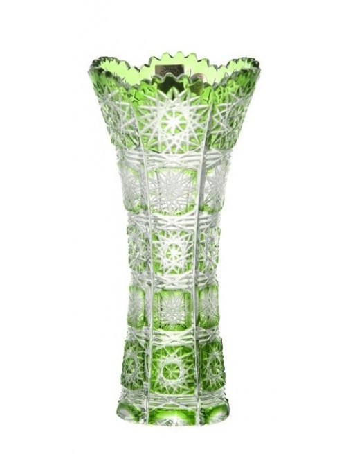 Krištáľová váza Paula I, farba zelená, výška 180 mm
